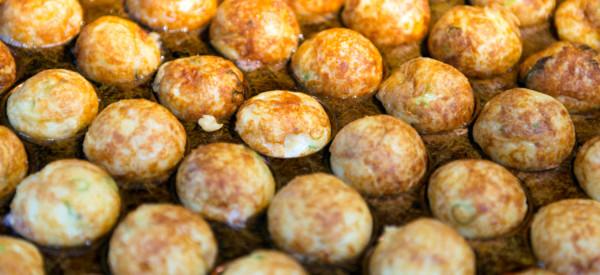 Takoyaki or octopus balls is a famous japanese street food