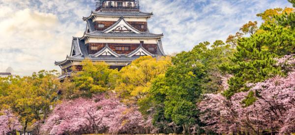 Hiroshima, Japan castle in spring.