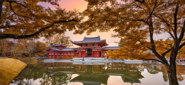 Uji, Kyoto, Japan at Byodo-in Temple's Phoenix hall.