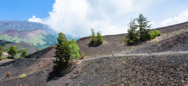 travel to Italy - path between old craters of the Etna mount in Sicily
