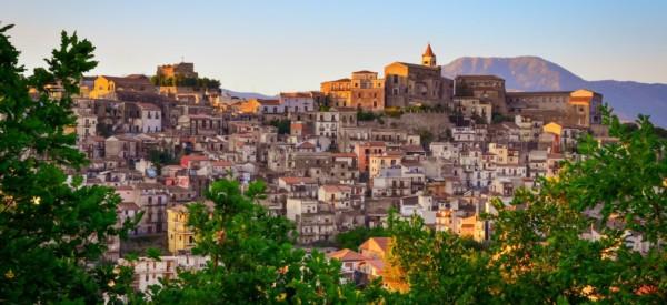 Scenic sunset view of Castiglione di Sicilia village, Sicily, Italy