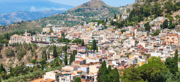 travel to Sicily, Italy - skyline of Taormina city in summer day
