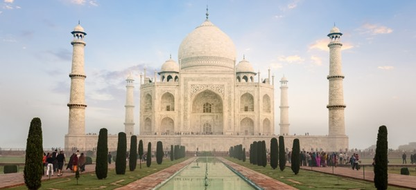 Taj Mahal on sunrise sunset, Indian Symbol - India travel background. Agra, Uttar Pradesh, India