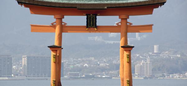Tori gate at Itsukushima Shrine on Miyajima Island, near Hiroshima, Japan