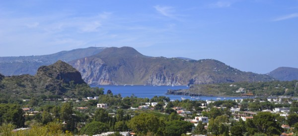 Volcano island in Sicily, Italy. Panorama of Aeolian Islands