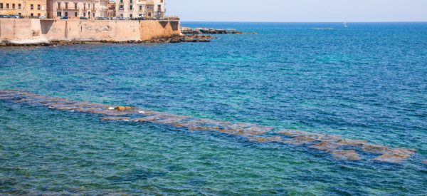 travel to Italy - waterfront in Syracuse city in summer day in Sicily
