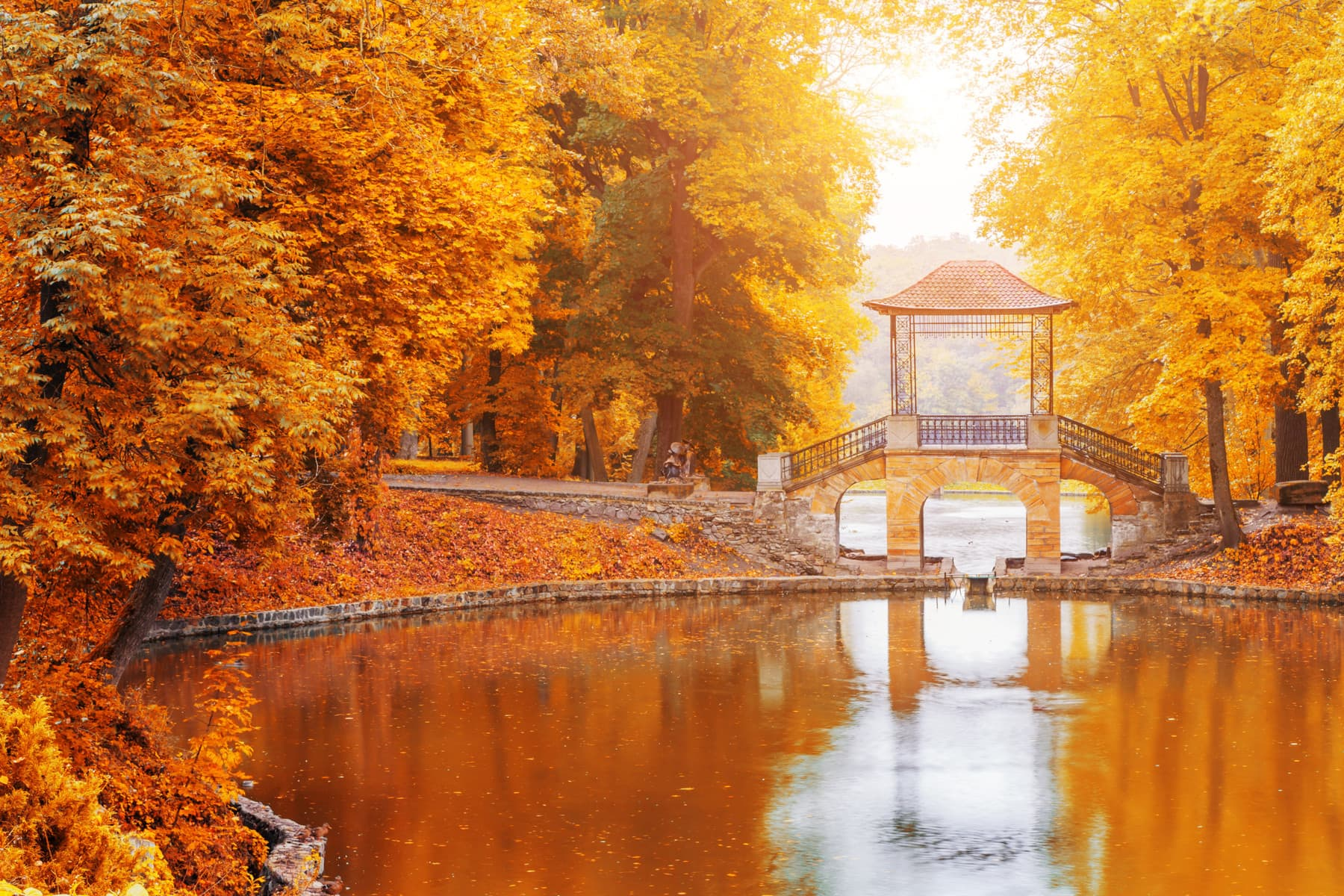 Japan Park Fluss mit Brücke