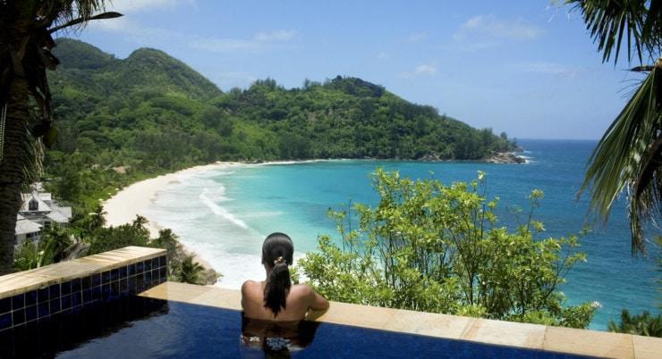 Banyan Tree Seychelles - Ausblick auf den strand
