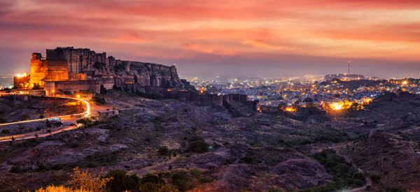 Famous indian tourist landmark Mehrangarh fort in twilight. Jodhpur, Rajasthan, India