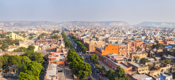"Panorama of aerial view of Jaipur  (Pink city) - Hawa Mahal (Palace of Winds"" or ""Palace of the Breeze"") and Jantar Mantar observatory. Jaipur, Rajasthan, India"