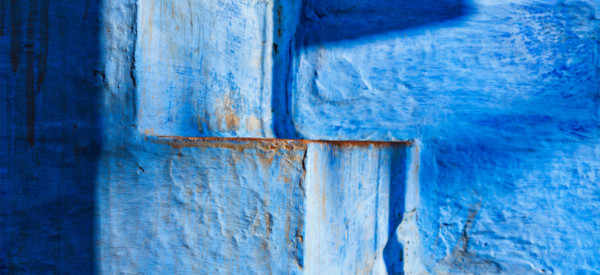 "Stairs of blue painted house in Jodhpur, also known as ""Blue City"" due to the vivid blue-painted Brahmin houses around Mehrangarh Fort. Jodphur, Rajasthan"