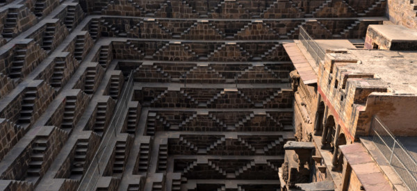 The famous Chand Baori Stepwell in the village of Abhaneri, Rajasthan, India. The deepest and the largest in India